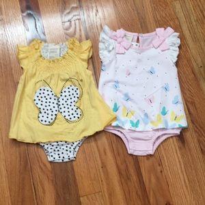 Set of 2 sleeveless butterfly bodysuits